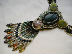 Bead Embroidery Necklace Green Silver Bead Embroidered - MADE TO ORDER