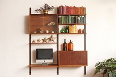 Two bay Danish wall unit designed by Poul Cadovius. Three wood rails that suspend two cabinets and five shelves with angular metal brackets.