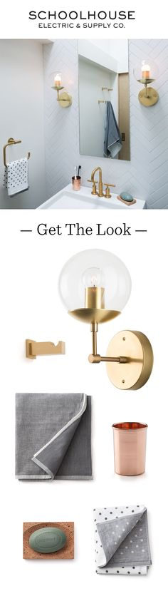 Modern + Easy Bathroom Upgrades: Shop wall sconces, hardware & other bathroom accessories featured here at Schoolhouse Electric.