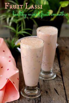 Fruit lassi recipe, a popular Indian beverage made with fresh fruits and yogurt. Perfect mixed fruit smoothie to beat the heat. Mixed Fruit Smoothie, Smoothie Recipes With Yogurt, Milkshake Recipes, Smoothie Drinks, Fruit Smoothies, Fruit Juice, Eid Food, Ramadan Food, Indian Dessert Recipes