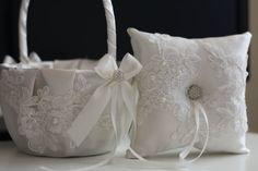 Off white Ring Bearer Pillow Flower Girl Basket by AlexEmotions
