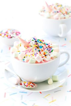 This Unicorn White Hot Chocolate is truly magical! Because everything is better with sprinkles.