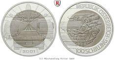RITTER Österreich, 100 Schilling 2001, Niob, Mobilität, PP #coins #numismatics