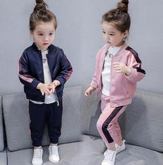 2019 autumn new girls baseball uniform zipper shirt jacket + trousers sports two-piece clothing sets for chiildren's clothes Baby Boy Fashion, Toddler Fashion, Fashion Kids, Two Piece Clothing Sets, Kids Sportswear, Girls Tracksuit, Romper Pattern, Shirt Jacket, Outfit Sets