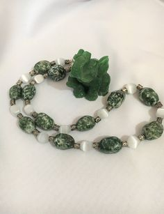 Green Jasper and White Cats Eye Beaded Necklace, Crystal Necklace, Semi Precious Stone Necklace, Green and White Necklace, by KrystaleaKreations on Etsy