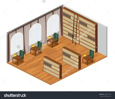 Isometric interior for empty bookstore and library room with bookshelves and armchairs vector illustration. library reading hall with bookcases, tables and windows