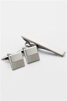 Gunmetal Tie Clip And Cufflink Set by Next