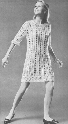 Vintage 1960s Boho Mini Dress Pattern PDF 6712 Crochet Lace Hippie 60s Bust 32 34 36 38 Size XS S M