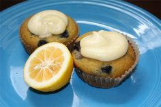 Coconut Flour Blueberry Cupcakes with Lemon Curd Coconut Frosting