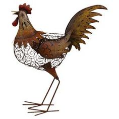 Iron rooster decor in rust with openwork detailing.   Product: Rooster décorConstruction Material: IronColor: MultiDimensions: 24.5 H x 21.5 W x 8 D