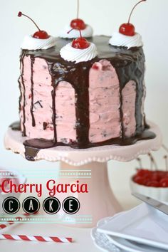 Cherry Garcia Cake -- this gorgeous chocolate and cherry cake would be perfect for Valentine's Day!!