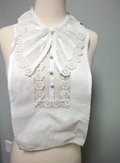 Lovely Antique 1930s Dickey Collar White Cotton di StelmaDesigns