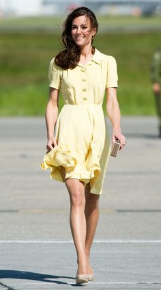 The Duchess of Cambridge. 8 July 2011 Calgary Airport during the North American Royal Visit. Wearing Jenny Packham