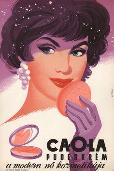 Ca-o-la cream powder. Hungarian advertising poster, c1960.