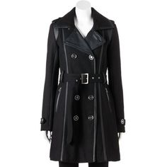 Women's Excelled Double-Breasted Faux-Wool Trench Coat, Size: L, Black ($90) ❤ liked on Polyvore featuring outerwear, coats, jackets, coats & jackets, black, long coat, woolen coat, faux wool coat, long trench coat and wool trench coat