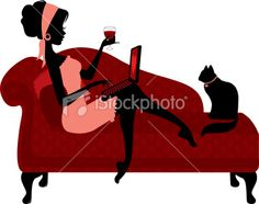 Woman Relaxing with Laptop Royalty Free Stock Vector Art Illustration