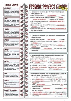 The worksheet includes four exercises to practice the Present Perfect Simple. There is also some teacher's tips about the most common adverbs and prepositions. English Grammar Exercises, Teaching English Grammar, English Grammar Worksheets, English Writing Skills, Grammar Lessons, English Language Learning, English Vocabulary, German Language, Japanese Language