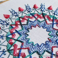 Mary Corbet: Kaleidoscope Embroidery Design Sample. use for box lid or tray?