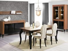 Furniture Set for Dining Room. In the online furniture store Euro Interiors Ltd. you can buy Szynaka / ALCAMO ALCAMO Dining Room Furniture Set of total Polish Designer Furniture and Kitchens in London, U. Dining Room Furniture Sets, White Bedroom Furniture, Dining Room Sets, Dining Table Chairs, Home Furniture, Furniture Design, Furniture Ideas, Modern Furniture Stores, Online Furniture Stores