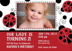Ladybug Birthday Invitation 2 - Printable