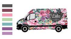 Liliz Mobile Flower Boutique Car Design - gld/frd - Branding and truck graphics for a mobile flower boutique. The truck itself serves as a flower shop and stops at different locations. Flower Truck, Flower Cart, Mobile Boutique, Mobile Shop, Flower Shop Design, Vehicle Signage, La Petite Boutique, Van Wrap, Flower Boutique