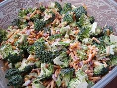 Broccoli Salad- 1.5 bunch broc cut in small pieces  1/2 lb bacon cooked and cubed  Half-one red onion chopped  1c cheddar cheese shredded  Mix all first ingredients together in a med mix bowl.  Dressing:  1c mayo  2 tbs vinegar  1/4 c sugar  Mix together then pour over salad, stir to cover, refrigerate for 2 hours or over night for best result!! Mmmmm