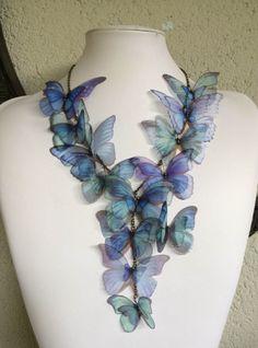 Iridescence - Handmade Blue Morpho Silk Organza Butterflies Necklace - One of a Kind by TheButterfliesShop on Etsy