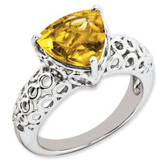 Sterling Silver 3 ct Trillion Citrine Ring for $99.97