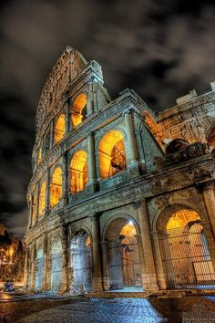 This is a shot of the Colosseum modern day at night. The construction of the Colosseum began  in 70 AD and it was finished in 80 AD. The Colosseum was built to host shows, and  gladiator fights, and things of that sort. This info was found at http://www.history.com/topics/colosseum