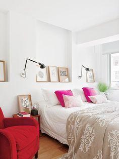 Bedroom  //Dormitorio con cojines rosas