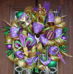 Deluxe Deco Mesh MARDI GRAS WREATH by decoglitz on Etsy