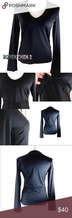 RONEN CHEN 2 Long Sleeve Black Athletic Shirt Ronen Chen 2 Israeli Designer Long Sleeve Black V-Neck Athletic/Everyday Shirt-This Shirt is made Wonderfully-AWESOME QUALITY-Excellent Condition-Built in Shelf Bra         Please see pics for more info and approx: measurements         Thank You. Deb 😎 Ronen Chen Tops