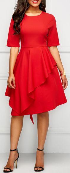High Waist Asymmetric Hem Short Sleeve Dress