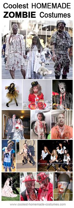 Are you being a Zombie for Halloween? Get some ideas from these Top 13 Homemade Zombie Costumes! Halloween Costume Contest, Cool Halloween Costumes, Halloween Kostüm, Costume Ideas, Zombie Costumes For Kids, Halloween Makeup, Halloween Camping, Teen Costumes, Halloween Couples
