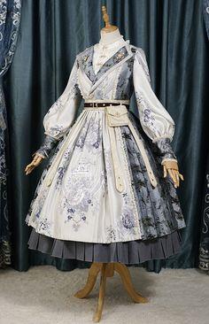 Fantastic Wind -The Folk Song of Changan- Qi Lolita Military Lolita OP Dress Pretty Outfits, Pretty Dresses, Beautiful Outfits, Cute Outfits, Kawaii Fashion, Lolita Fashion, Cute Fashion, Old Fashion Dresses, Fashion Outfits