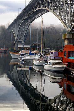 Boats under the Fremont Bridge - #Seattle, WA. #waterfront www.OneMorePress.com