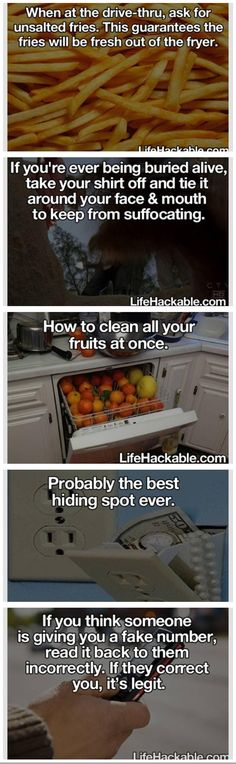 Life hacks don't know how it would work with the shirt thing tho cause if dirt is packed on you, you can move at all