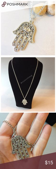 "•30% OFF BUNDLES• Hamsa Hand Of Fatima Pendant New pendant chain necklace. 19"" long. New item in package. Silver tone color, costume jewelry. Good luck. No trades, offers and bundle discounts welcome. Jewelry Necklaces"