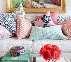 "colorful pillows on couch.""............... Yes. eight colorful patterns.  If you have to move the pillows in order to sit down, you have too many pillows."