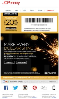 JCPenney - rewards signup email; 1:1 dollars spent to points; 100 pts = $10 reward; 20% off coupon Loyalty Marketing, Email Marketing, Pts 10, Welcome Emails, Loyalty Rewards, Print Coupons, Coupon Design, Ux Design, Coding
