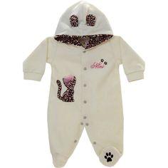 Macacão Bebê Menina em Soft Oncinha Cor Cru - Nini & Bambini :: 764 Kids | Roupa bebê e infantil
