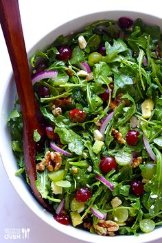 Gimme Some Oven | Grape, Avocado and Arugula Salad http://www.gimmesomeoven.com. Protein: goat cheese, walnuts. Opt.--grilled chicken, grilled shrimp, or crispy tofu