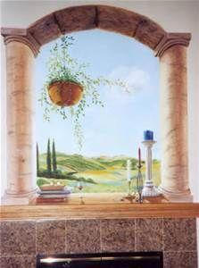 trompe l oeil murals - Bing Images Wall Paintings, Mural Painting, Mural Ideas, Wall Ideas, Window Wall, Murals, Bing Images, Outdoor Structures, Interior Walls