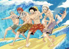 Surfing - Smoker, Eustass Kid, Monkey D. Luffy, Trafalgar D. Water Law, Donquixote Doflamingo, and Donquixote Rocinante (Corazon) (Corasan, Cora-san) One Piece