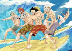 Surfing - Smoker, Eustass Kid, Monkey D. Luffy, Trafalgar D. Water Law, Donquixote Doflamingo, and Donquixote Rocinante (Corazon) (Corasan, Cora-san) One Piece