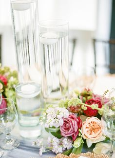 centerpieces with garden roses - photo by Lisa Blume Photography http://ruffledblog.com/destination-wedding-in-a-puerto-rican-rainforest
