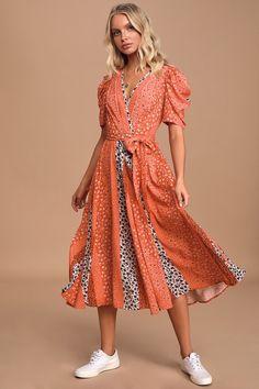 New Next Shift Midi Dress Tunic Coral Red Orange White Floral Embroidered 6-18