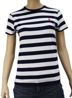 Polo Ralph Lauren Women is Small Pony Striped White  Blue Crew Tee 1259771-Large