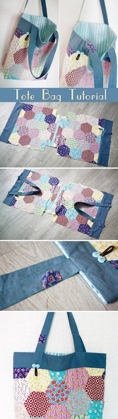Tote Bag Tutorial Easy Shopper Tote Bag Sewing A Step-by-Step Tutorial with Photos. ~Step by step illustration.Easy Shopper Tote Bag Sewing A Step-by-Step Tutorial with Photos. ~Step by step illustration. Fabric Crafts, Sewing Crafts, Sewing Projects, Sewing Diy, Patchwork Bags, Quilted Bag, Hexagon Patchwork, Purse Patterns, Sewing Patterns