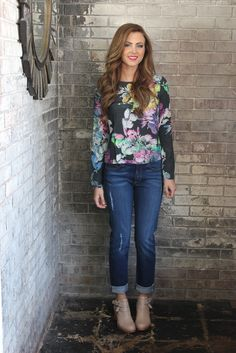 Fountain Floral Long Sleeve Blouse